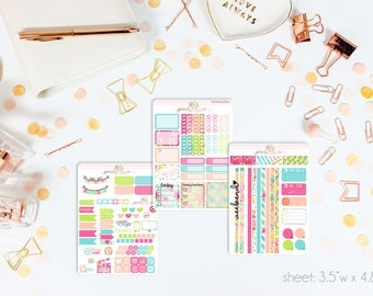 Citrus Splash MINI Weekly Kit // 130+ Matte Planner Stickers // Perfect for your Personal Planner // WKM0760