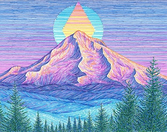 Mt Hood Sunset 6x8 Archival Print - Colorful Mountain Art Giclee - Mount Hood Portland, Oregon Landscape Drawing