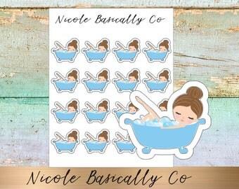 Jade Dolls- Bath Tub- Bath Time- Planner Stickers