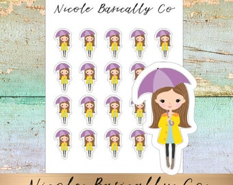 Jade Dolls- Rainy Day- Umbrella- Character Planner Stickers