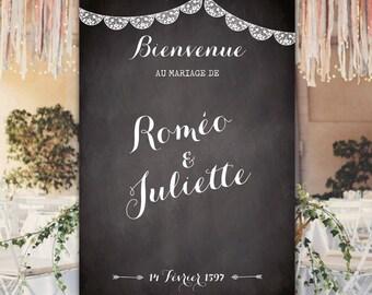 Welcome to custom - 100 x 70 cm - wedding sign