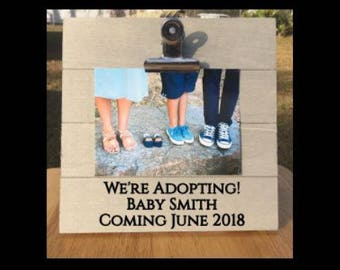 We're Adopting! - New Baby Announcement - Pregnancy Announcement Frame. We're Expecting Personalized Last Name Surprise Gift - Adoption