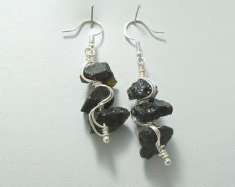 Moldavite Earrings, Moldavite Dangle Earrings, Tektite Earrings, Sterling Silver Earrings, Moldavite Drop Earrings, Meteorite Jewelry