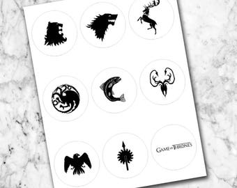 Game of Thrones Sigil Stickers INSTANT DIGITAL DOWNLOAD