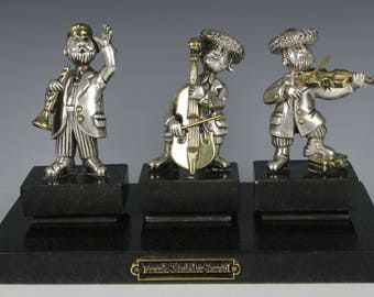 """Frank Meisler 925 Sterling Silver Figurines """"Chassidic Band"""" LE"""