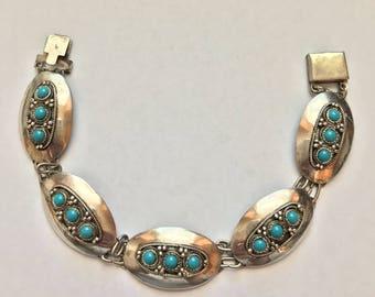 Vintage Sterling Silver Turquoise Link Bracelet