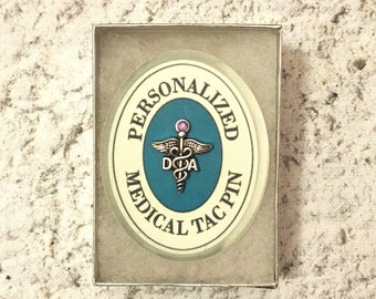 """PERSONALIZED D.A. """"Dental Assistant""""  Tac, Lapel Pin #1608. Personalized with Birthstone crystal, of your choice."""