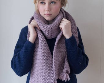 100% virgin wool Chunky pastel lilac Knit Scarf with pompoms, long winter scarf.