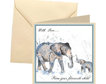 Animal Mothers day card, blank card, elephant mothers day card, Mothers day card, elephant birthday card, favourite child card