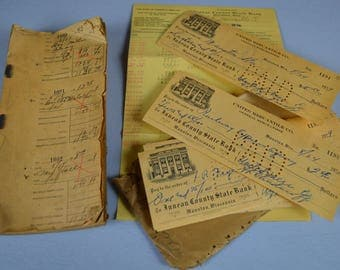 1929 Canceled Checks with Stubs and Bank Statement, Great Depression Accounting, #480