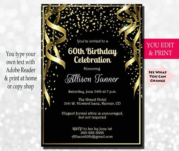 60th Birthday Invitation 60th Birthday Party Invitation 60th – Invitations for 60th Birthday