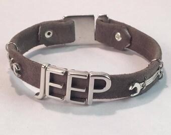 Handmade Silver Letter Jeep Bracelet, Suede Leather jeep bracelet, Jeep Cuff bracelet, jeep letter bracelet jeep lover bracelet jeep jewelry