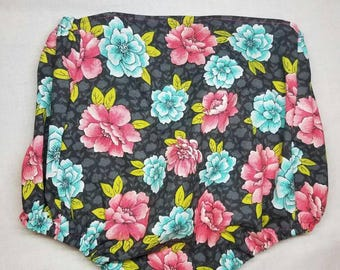 Bloomers, baby bloomers, baby girl bloomers, flower bloomers, gray bloomers, pink flower bloomers, baby girl bloomers, diaper cover