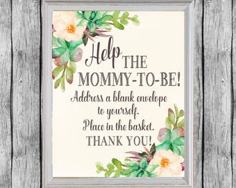 Baby Shower Address An Envelope Sign. Baby Shower Sign.  Address An Envelope. Instant Download. Address Envelope Station Succulent