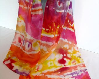 """Tutti frutti"" hand painted silk shawl"