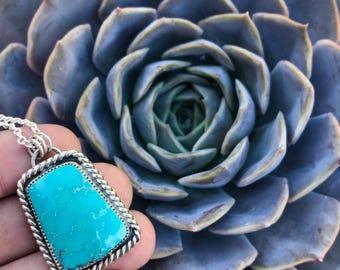 Turkmenistan Watermark Turquoise Pendant