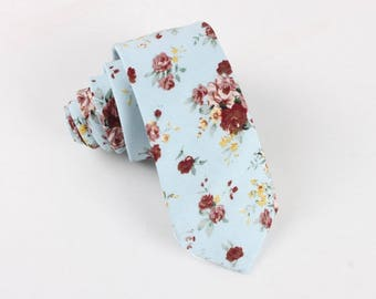 Teal Floral Skinny Tie 2.36"