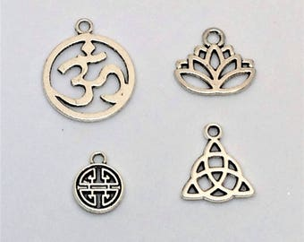 Tibetan silver Sacred symbols charms  Buddhism , yoga, Chinese, Celtic ,Lotus Flower Charm Pendants , necklace, bracelet, earring , findings