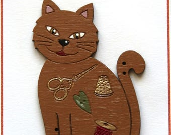 Sewing cat button