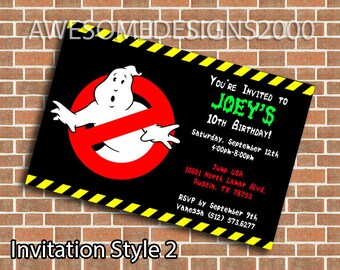 Ghostbusters Invitations - Birthday Party Invite - Printable & Shipped