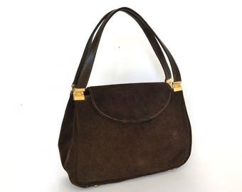 Vintage 1960's Etra Dark Brown Suede Handbag
