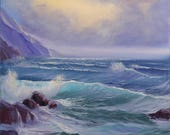California Ocean Art, Coastal Landscape, Sunrise Beach Oil Painting on Canvas, Tempest