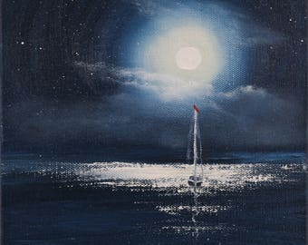 Night Painting, Moon Wall Art, Sailboat Ocean View, Gift for Him, Original Boat Oil Painting, Sailing Boat Artwork, Yacht Art, Full Moon