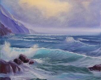 Sunrise Beach Painting, Ocean Sunrise Art, California Art, Coastal Landscape, Surf Art, Ocean Art, Seascape, Original Oil Painting on Canvas