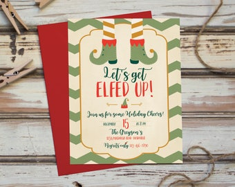 lets get elfed up christmas party invitation funny adult party xmas holiday invite - Funny Christmas Party Invitations