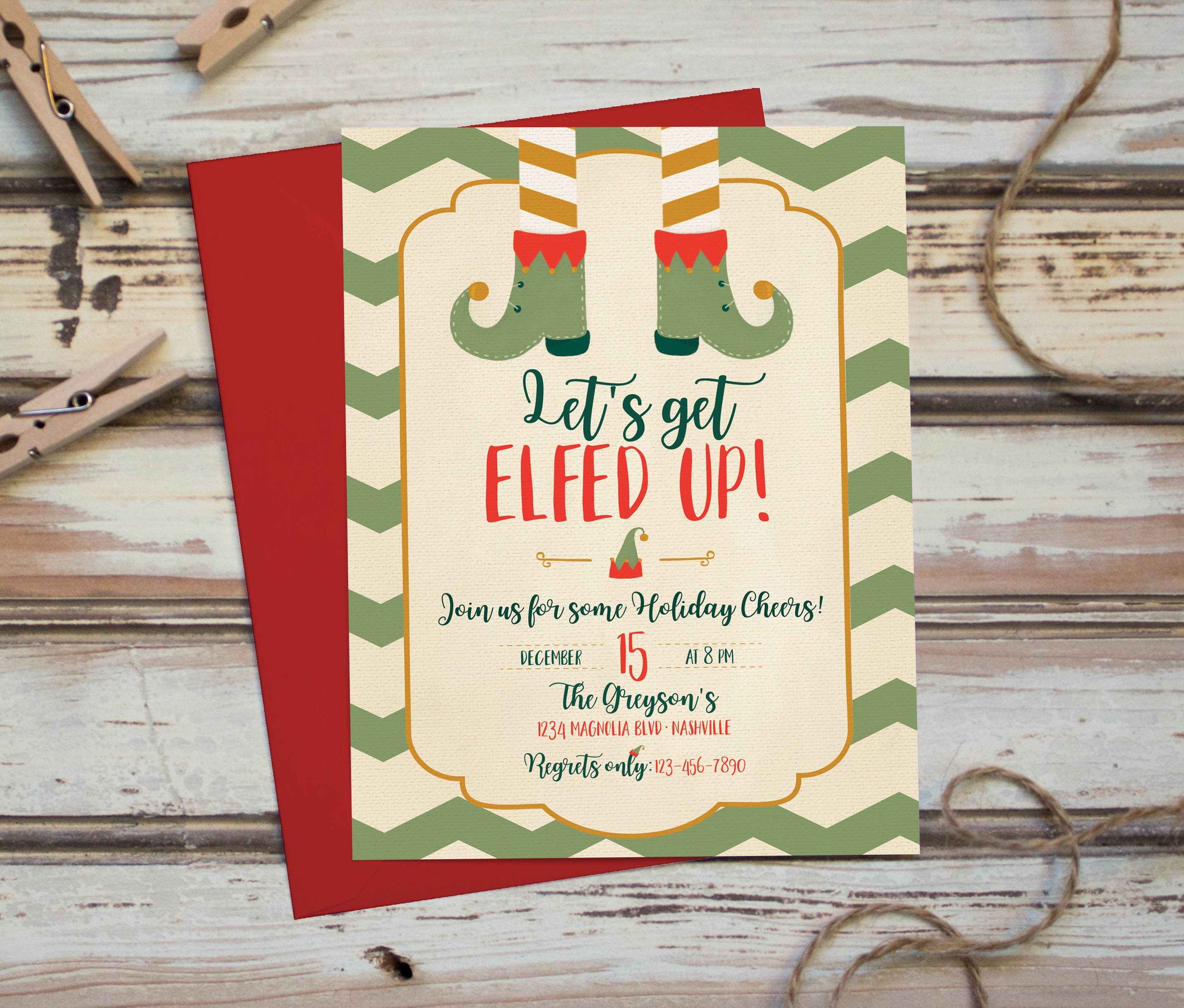Let\'s Get Elfed Up Christmas Party Invitation Funny