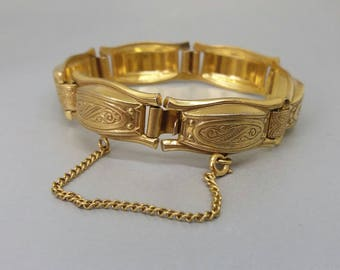Vintage Spanish Damascene Bracelet 1940s Renaissance Jewelry Gold Metal Link UK