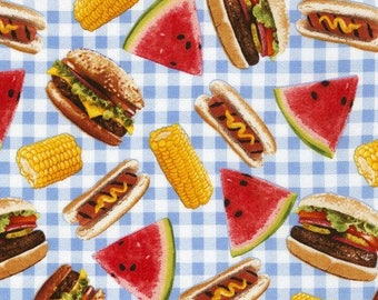 Picnic Food Fabric by Timeless Treasures, Watermelon Hotdog Hamburger Cookout Fabric