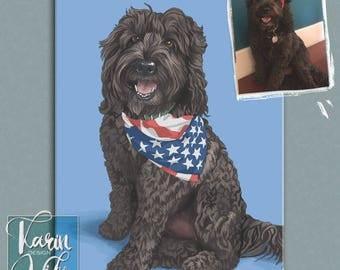 Custom Pet Portrait, Quirky pet portrait, Portrait from photo,  custom pet poster, regal pet portrait, royal pet portrait, pet loss gift