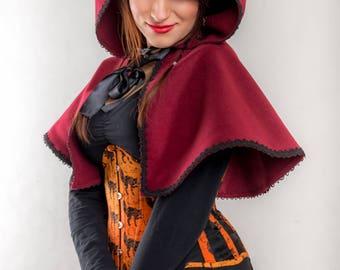 Little Cloak Coat Hood Lolita Gothic Hoodie Cosplay little red riding hood