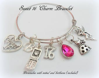 Gifts for girls etsy sweet 16 charm bracelet 16th birthday gift girl personalized sweet 16 gift gift negle Gallery