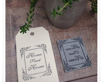 a pretty frame rubber stamp unmounted with handwriting * Home Sweet Home. *
