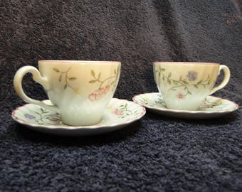 TWO Johnson Brothers Summer Chintz Tea Cup Saucer Sets 2 EXCELLENT