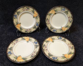 "FOUR Mikasa Garden Harvest Saucer Bread Dessert Plates 6 1/2"" Set of 4 EXCELLENT!"