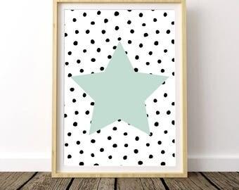 Nursery Star Decor, Nursery Shelf Decor, Kids Room Star Decor, Wall Star Art, Mint Green Nursery Decor, Mint Green Nursery Wall Art