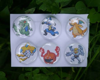 "Custom Order: Pokemon team button set - 1"" video game pixel art badges pins enamel pinbacks"