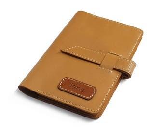 Personalised Passport Cover Passport Holder Passport Wallet - Light Brown Goatskin Leather