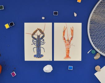 lobster card-carte homard-carte imprimée,aquarelle,watercolor,artwork,home decoration,print,art print,illustration,painting,drawing,lobster