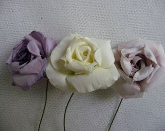 Flowers: 3 large paper flowers, pastel purple and pale green (1)