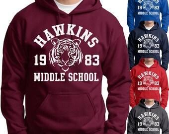 Hawkins Middle School Hoodie Stranger Things Dustin spiritwear Sweatshirts Mens Kids sizes