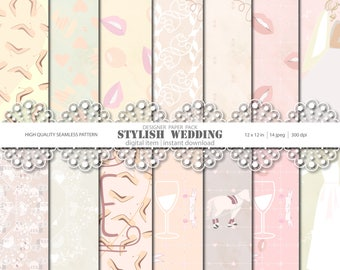 Stylish Wedding Digital Paper Pack, Wedding Papers, Weddng Pattern, Digital background, Party Seamless Pattern, Planner Stickers, Invitation