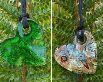 Glass Heart Necklaces - 5 Varieties