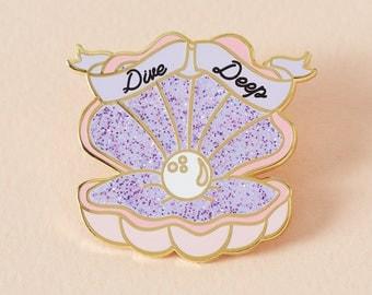 Dive Deep Mermaid Shell Enamel Pin with Purple Glitter // Lapel Pin Badge //