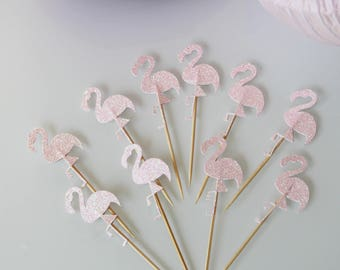 10 decorations for Small cake toppers glitter flamingos