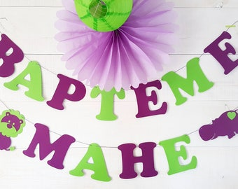 """Garland """"Baptism"""" + name paper 210 gr cotton coated - assorted colors"""