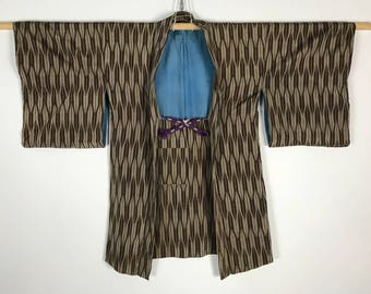 D809 Vintage 60s Japanese Haori Kimono Womens Old Silk Cardigan Jacket Brown